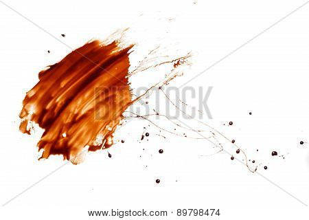 Chocolate Splash Drop Liquid White Background