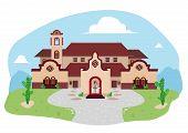 Daytime image of Spanish-Mediterranean or Hispanic Villa Mansion in a desert land. Vector Illustration EPS10 and jpg raster. poster