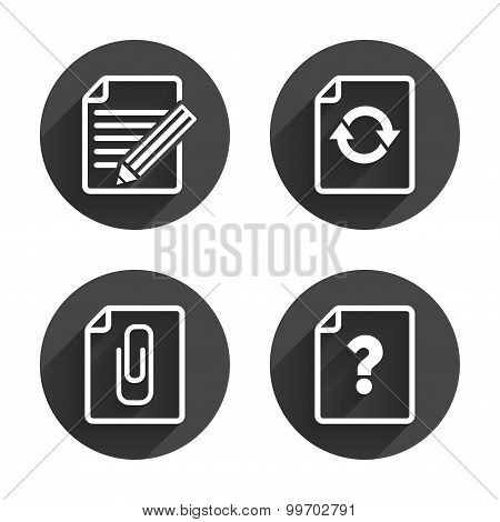 File refresh icons. Question help and pencil edit symbols. Paper clip attach sign. Circles buttons with long flat shadow. Vector poster