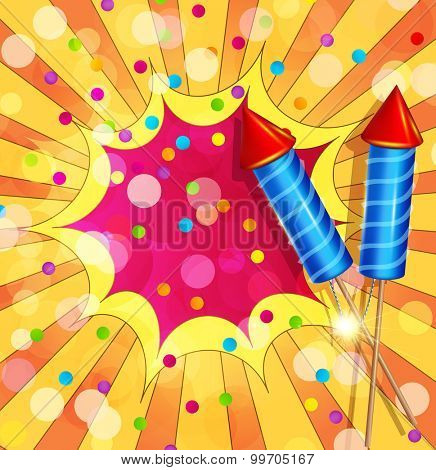 festive background with firecrackers and confetti poster