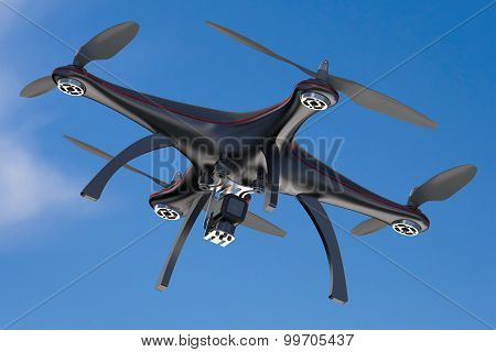 black drone quadcopter drone in blue sky poster