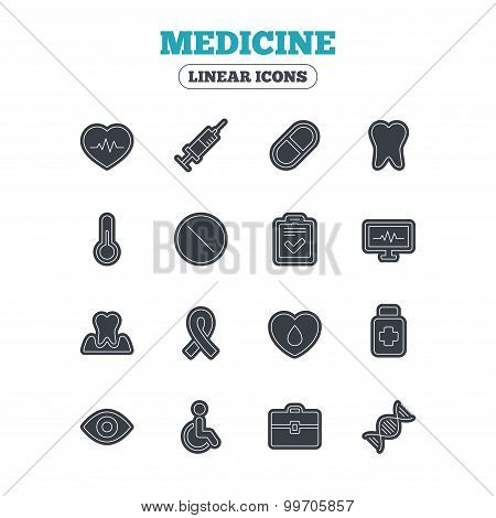 Medicine icons. Syringe, heartbeat and pills symbols. Tooth health, eye and blood donate. Awareness ribbon. Line icon with black border. Vector poster