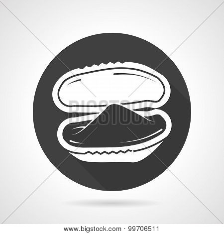 Black round vector icon for mussel