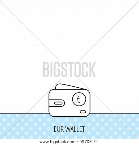 Euro wallet icon. EUR cash money bag sign. Circles seamless pattern. Background with icon. Vector poster