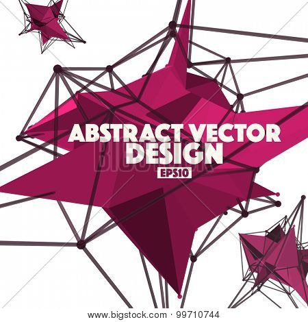 Low Poly Abstract Background Vector Element with Connection Lines