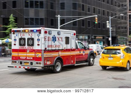 NEW YORK CITY, USA - SEPTEMBER, 2014: New York City ambulance
