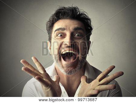 Happy man going crazy