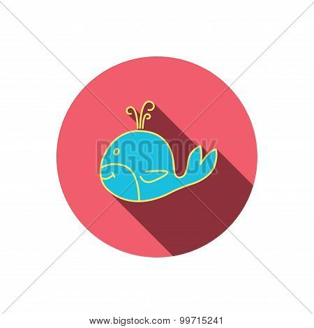 Whale icon. Largest mammal animal sign. Baleen whale with fountain symbol. Red flat circle button. Linear icon with shadow. Vector poster