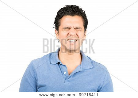 Painful Facial Expression Hispanic Male Grimacing