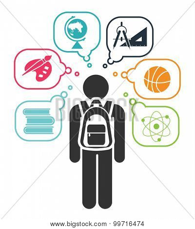Pictogram of a child learning different school subjects. Pictogram icon set. School days. Vector illustration.