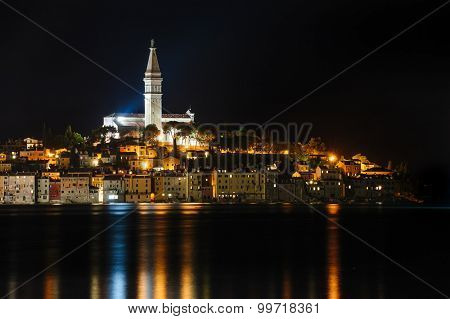Rovinj sea side town at night, Istrian peninsula, Croatia