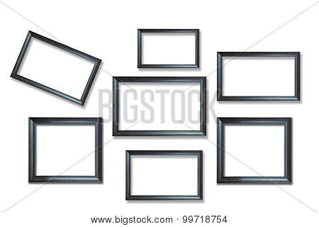 Wooden picture frames isolated on white background