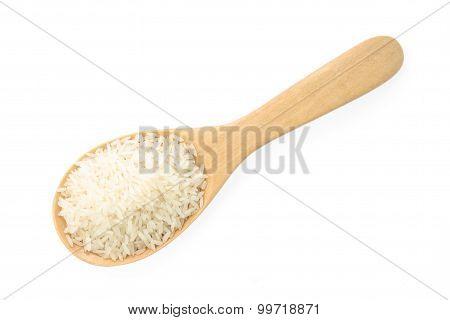 jasmine rice on Wood Ladle isolated on White Background