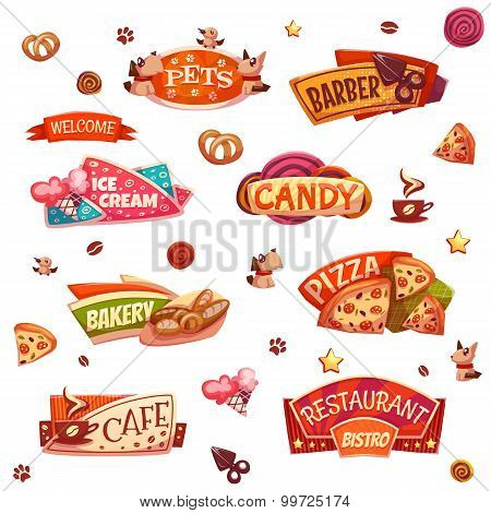 Vector set of brightly banners for market, shop and restaurant