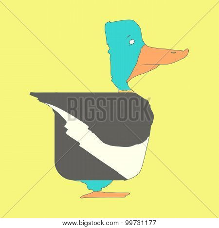 Hand drawn flat square icon Duck isolated on yellow background