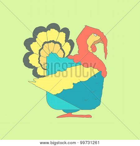 Hand drawn flat square icon Turkey isolated on green background