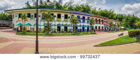 NATIONAL COFFEE PARK, COLOMBIA, White spanish colonial typical building inside National Coffee Park,