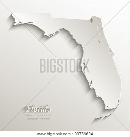 Florida map card paper 3D natural vector