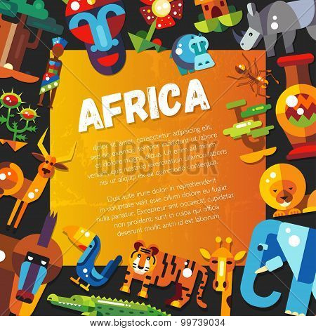 Postcard of flat design african icons and infographics elements with animals