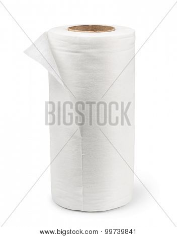 White rolled fabric  towel isolated on white