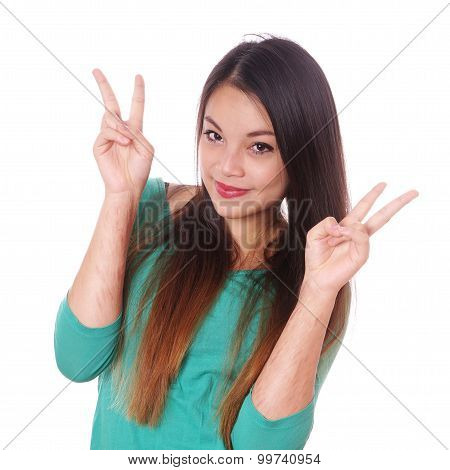 girl with scars from self-harm making victory sign