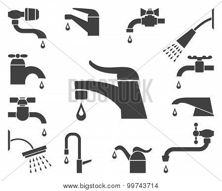 Set of vector water tap or faucet icons