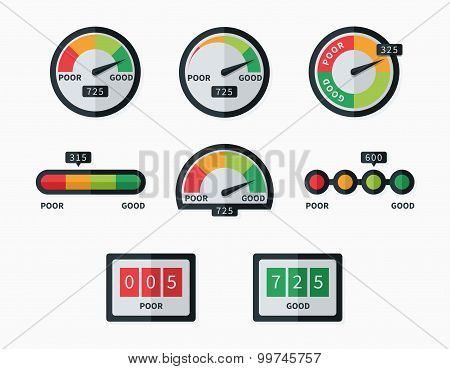 Credit score indicators and gauges vector set