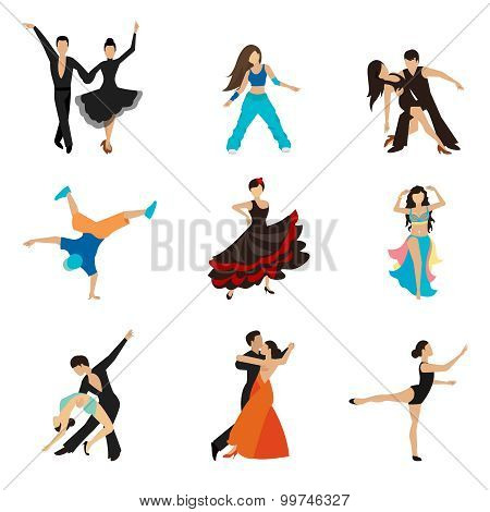Dancing styles flat icons set