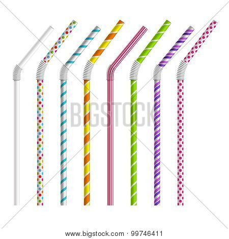 Color drinking straws vector set
