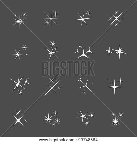 Vector sparkles icon set