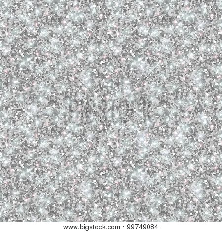 Silver Glitter Texture, Seamless Sequins Pattern.