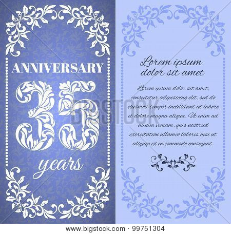 Luxury Template With Floral Frame And A Decorative Pattern For The 35 Years Anniversary. There Is A