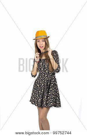 Stylish lady in orange hat