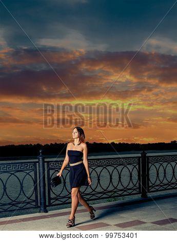 Beautiful woman walking away in  the night.