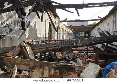 Burned Building Structure