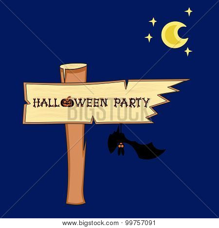 Vector bat and Halloween singpost on blue background