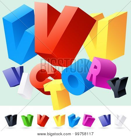 Vector 3D font of randomly rotated colourful letters. All letters in alphabet have 8 random points of view. Letter V