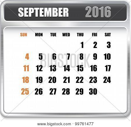 Monthly Calendar For September 2016
