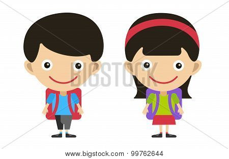 Vector cute cartoon boy and girl with school uniform isolated on white