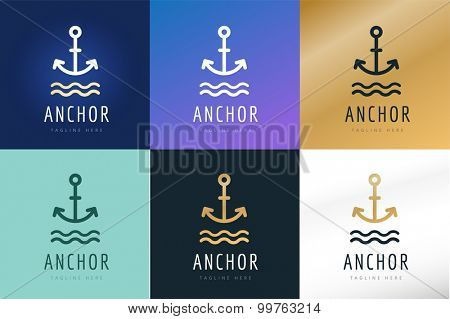 Anchor vector logo icons. Sea, sailor symbols. Anchor logo. Anchor icon. Anchor symbol, anchor tattoo. Vintage old style logo template. Retro style. Arrows, labels ribbons decor, premium quality