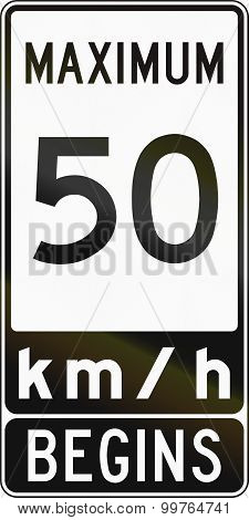 Speed Limit Sign In Canada