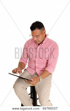 Man Working With His Tablet Computer.