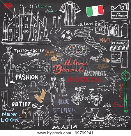 Milan Italy sketch elements. Hand drawn set with Duomo cathedral flag map shoe fashion items pizza shopping street transport and traditional food. Drawing doodle collection on chalkboard. poster
