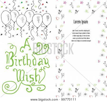 Hand Drawn Birthday Greeting Card, Party Background With Balloons, Confetti, Hand Writen Lettering T