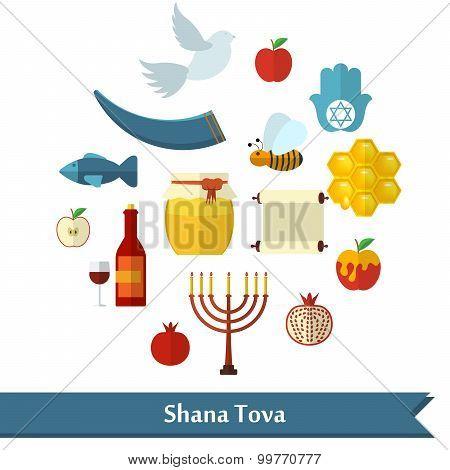 Rosh Hashanah, Shana Tova Or Jewish New Year Flat Vector Icons Set, With Honey, Apple, Fish, Bee, Bo