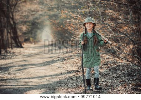little girl goes through the woods, photo in vintage stylev