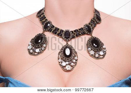 necklace on the neck
