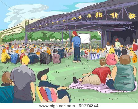 Illustration of a Large Crowd Gathering Before a Concert