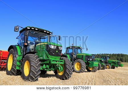 Line Up Of John Deere Agricultural Tractors