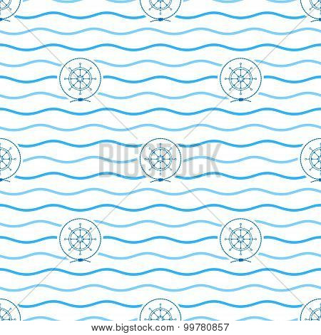 Blue Ship's Wheel , Seamless Pattern